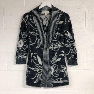 Edina Ronay Black White Floral Cotton Cardigan